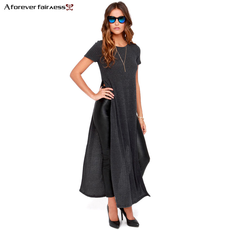 A Forever Women Dress Casual Short Sleeve Knitted Dress High Slit Sexy Long Maxi Party Dresses Vestidos S-XXXL AFF697