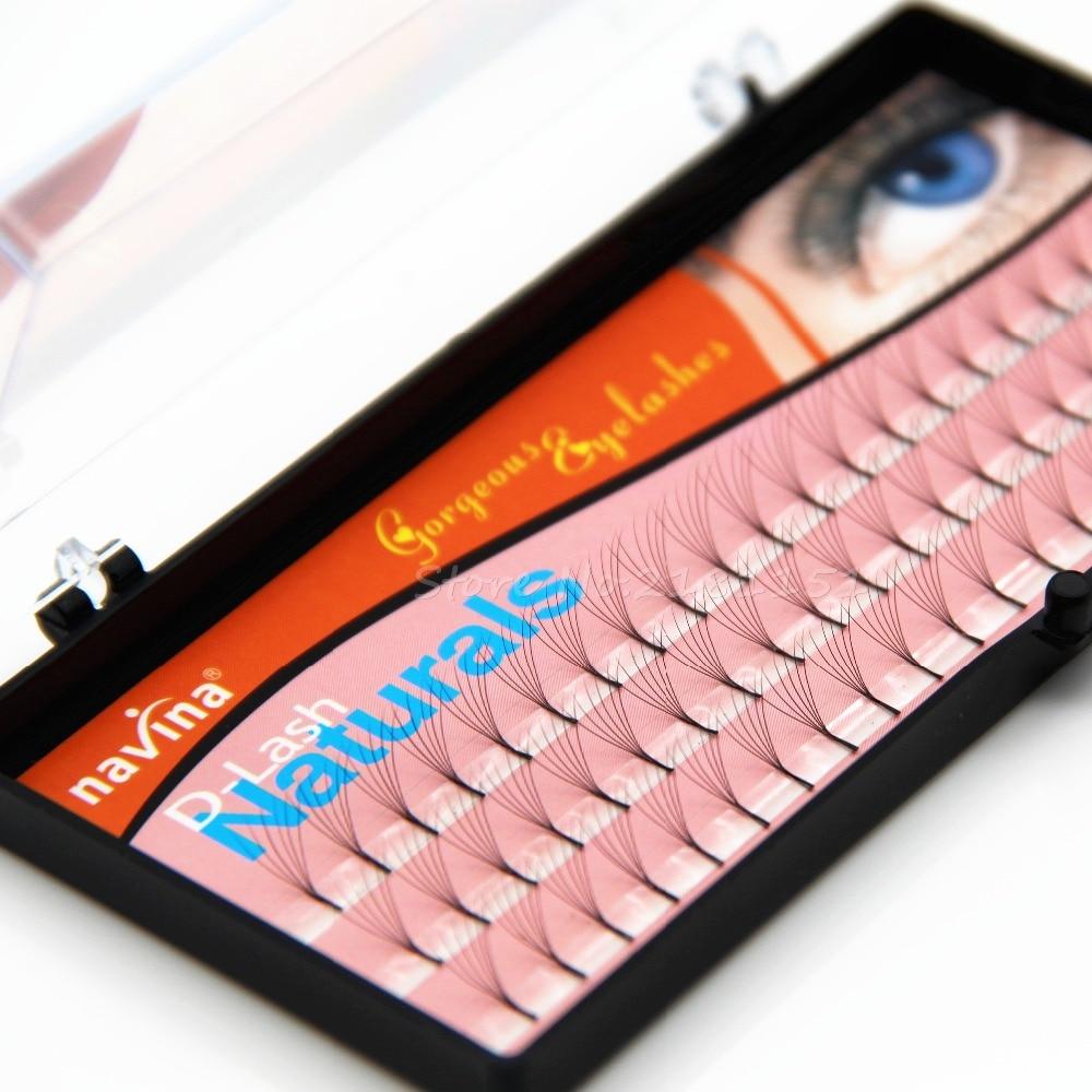 NAVINA 6 Roots 60 Natural Long Black Individual False Eyelashes Eye Lash Extension Kit Soft 12mm 10mm 8mm Selection