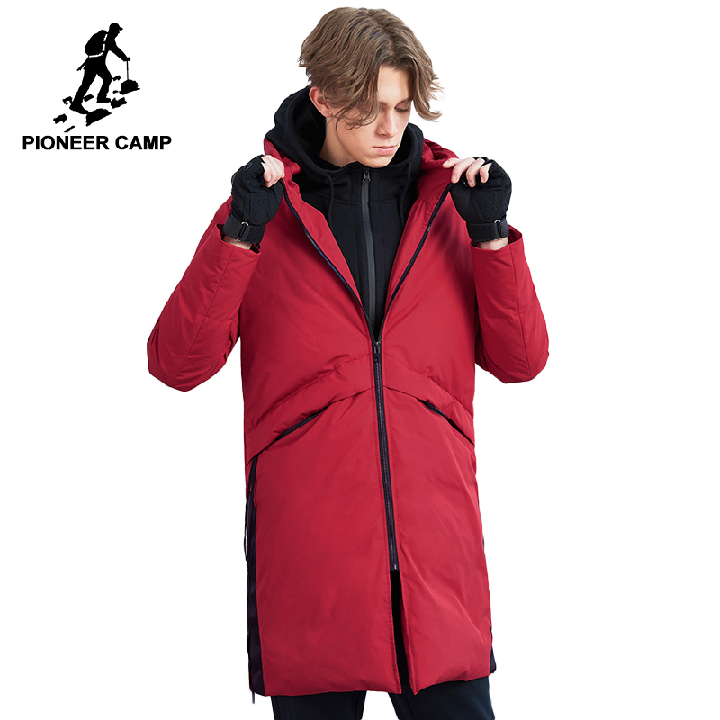 Pioneer Camp long winter   down   jacket for men brand clothing fashion 90% duck   down     coat   male top quality red black AYR801464