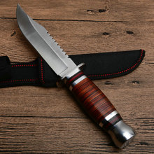 Hysenss Hard Tough Fixed Blade Knife Wood Handle Tactical Camping Hunting Hiking