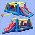 5.6 m Longo Obstalce Curso Bouncer Inflável para As Crianças, Castelo Bouncy inflável Slide Duplo com Túnel Obstáculo Ventilador Livre