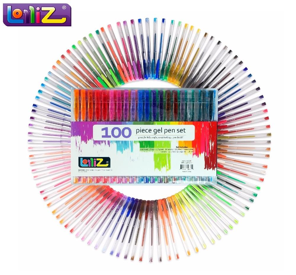 LolliZ Bambini Colored Art 100 Pz Gel Penne Set W/Bonus 12 Colori Ricariche Glitter Neon Swirl Ufficio Latteo materiale Scolastico