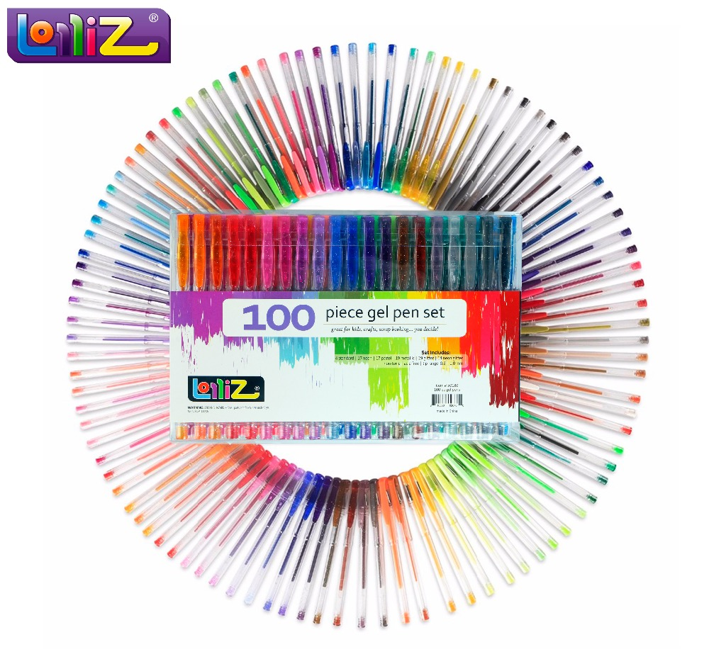 LolliZ Enfants Couleur Art 100 Pcs Gel Stylos Set W/Bonus 12 Couleurs Recharges Glitter Néon Laiteux Tourbillon Bureau Fournitures scolaires