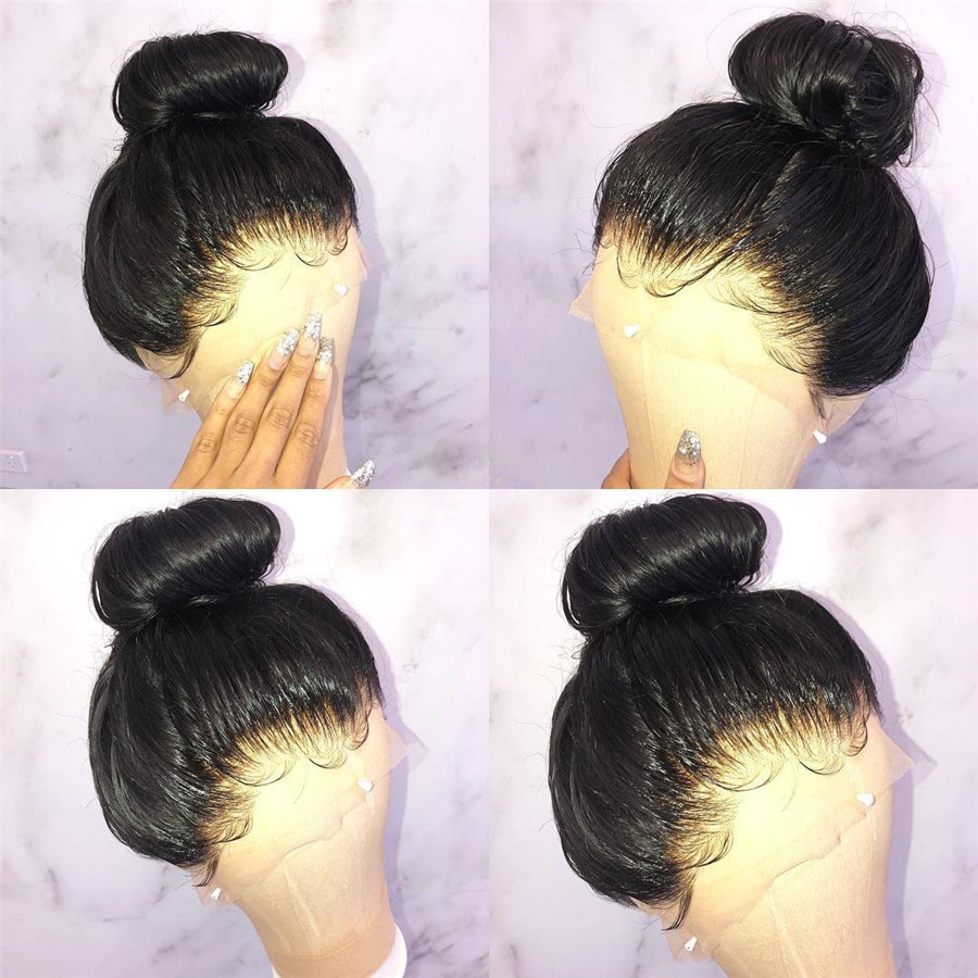 13x6 Silky Straight Fake Scalp Wig Deep Part Glueless Lace Front Human Hair Wigs With Baby Hair Undetactable Brazilian Remy Hair