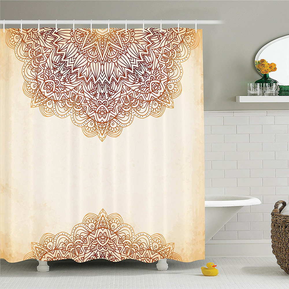 Victorian Shower Curtain Artistic Oriental Vintage Ornate Pattern Ethnic Henna Style Mandala Artwork Print Bathroom Decor Set