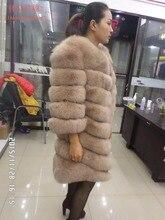 90CM longer section of natural real  fox fur coat,fur  coat natural ,real  fur  coat,