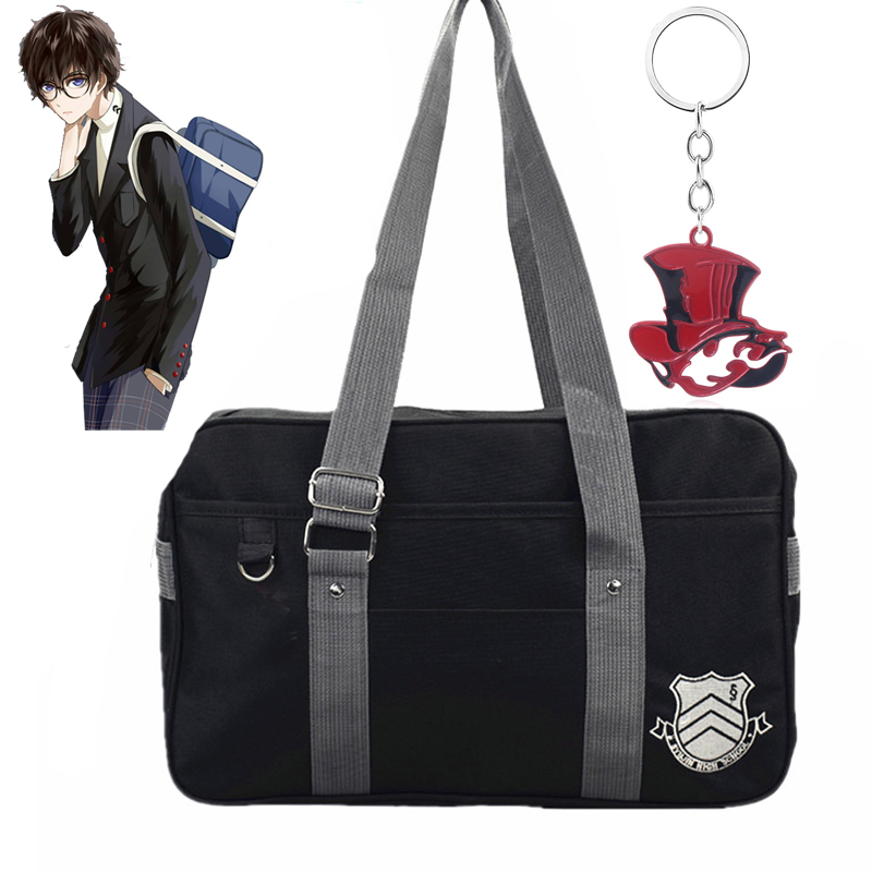 Persona 5 anime mochila cosplay adereços lona saco do mensageiro coringa pantera chaveiro saco de escola akira kurusu acessórios
