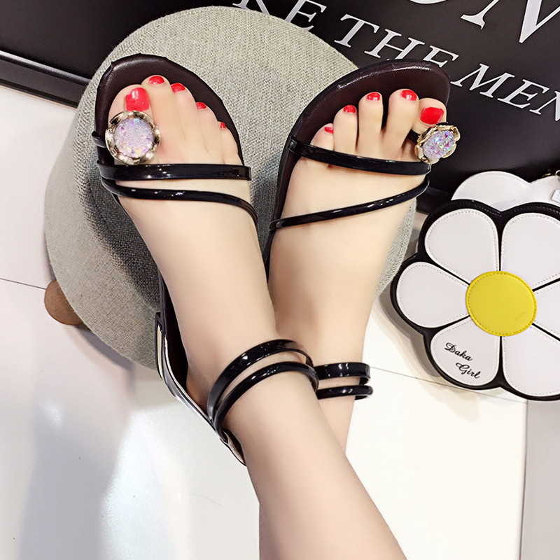 HKCP 2019 The Korean version of the flat toe sandals is the new rhinestone back zipper gladiator sandals for summer C202 in Low Heels from Shoes