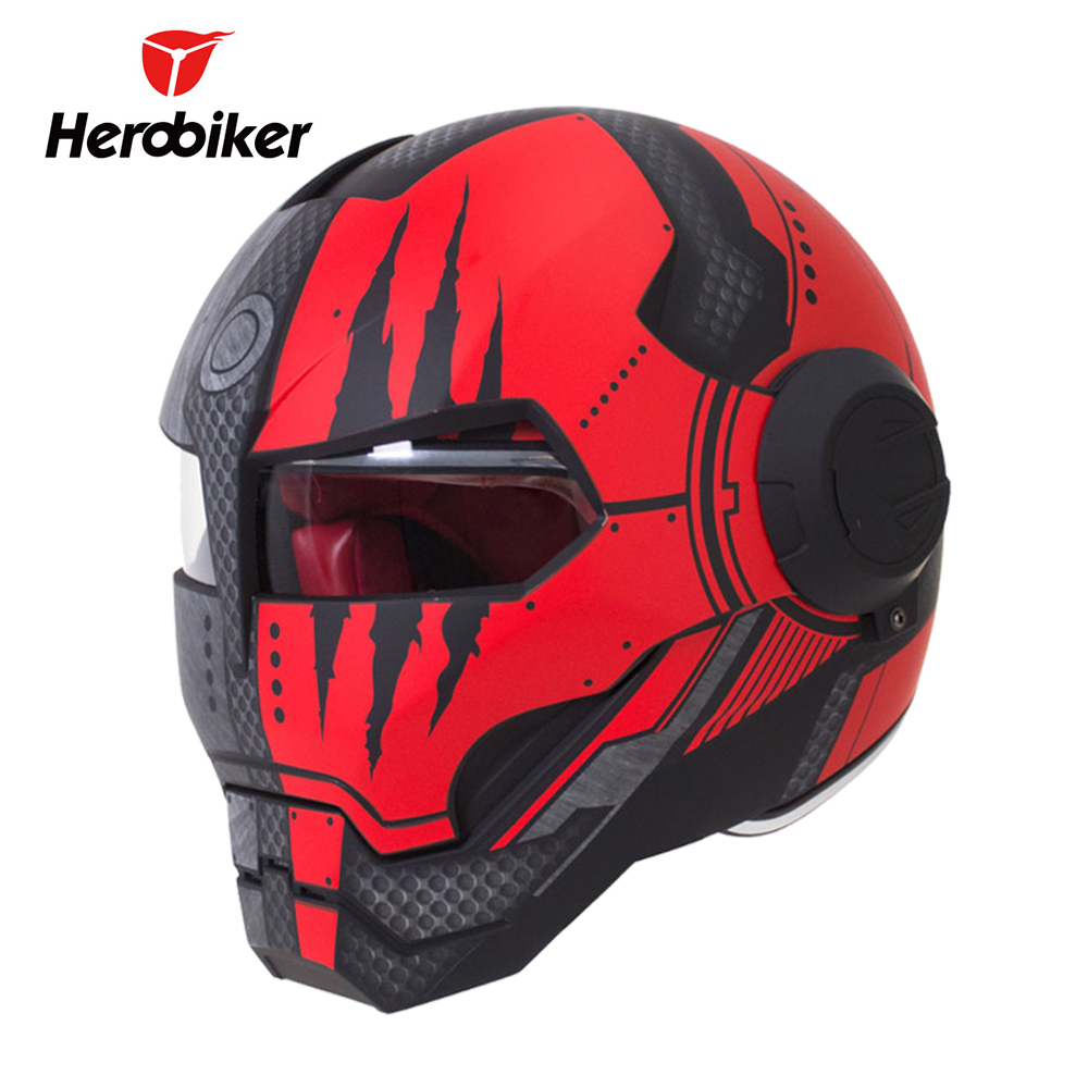 HEROBIKER Motorcycle Helmet Vintage Retro Cruiser Chopper Cafe Racer Capacetes Moto Helmet Motocross Motorbike Full Face Helmet
