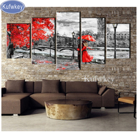 5 Pcs Diamond Painting mosaic Full Embroidery London Love red umbrella 5D diy diamond Pictures full Square Drill Drawings decor