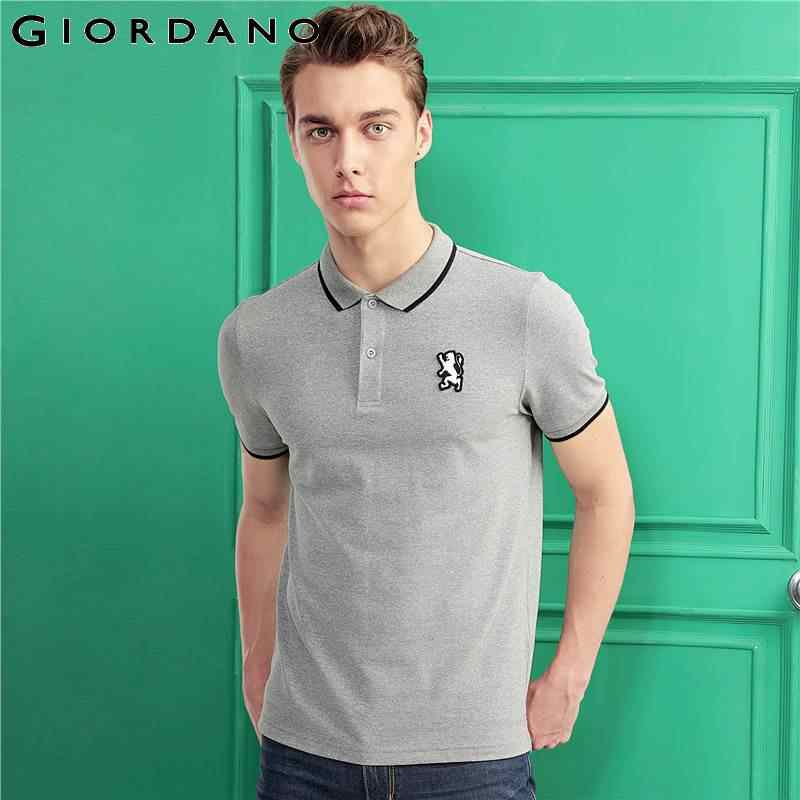 ad762590c Giordano Men Polo Shirt Short Sleeves Ribbed Collar Polo Shirts Quality  Lion Embroidery 3D Style Famous