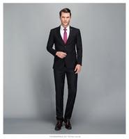 2018 Для мужчин Бизнес костюм Slim fit классический мужской костюмы пиджаки высокого класса марки Custom две кнопки 2 шт. (костюм куртка + Штаны)