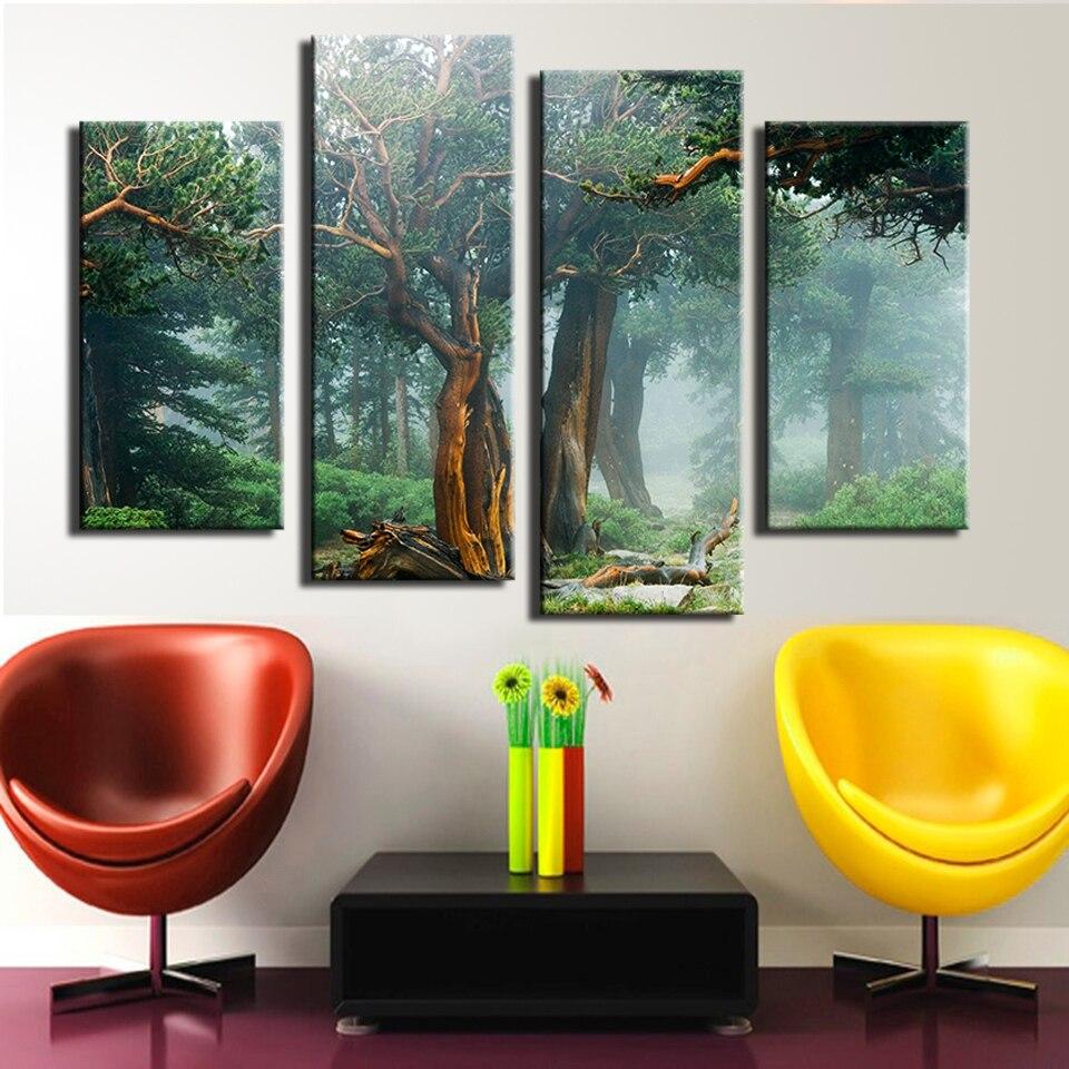 4 STÜCKE schöne Zauberwald wandmalerei druck auf leinwand für ...