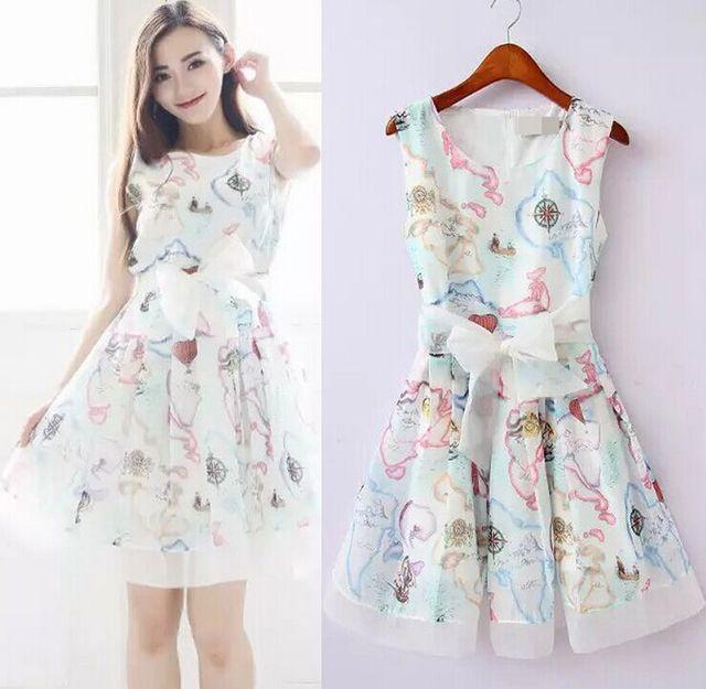 Vintage 90s Fl Mini Dress Pastel Flower Print Sleeveless Bow Shell
