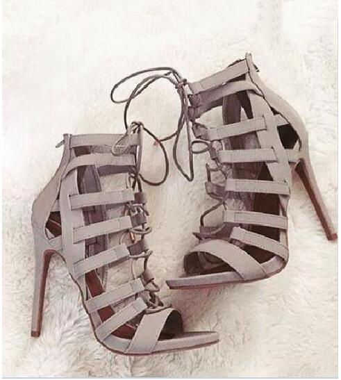 ФОТО 2016 Summer Fashion Lace-Up Stiletto Heel Women Suede Sandals Open Toe Hollow Out High Heel Sandal Party Dress Shoes Plus Size10