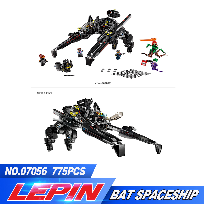 New Lepin 07056 775Pcs Genuine Batman Movie Series The Scuttler Bat Spaceship Set Building Blocks Bricks Education Toys 70908 stzhou lepin batman 559pcs genuine superhero movie series the batman robbin s mobile set lepin building blocks bricks toys
