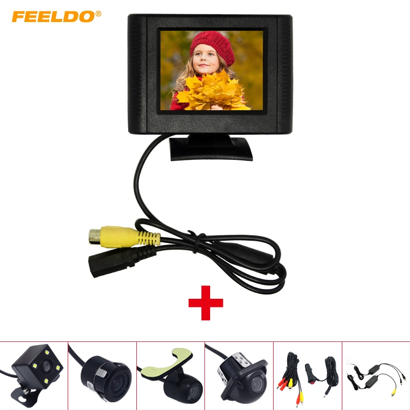 FEELDO Tft-Monitor Parking-Camera Cigarette-Lighter Rear-View Wireless Video-System LCD