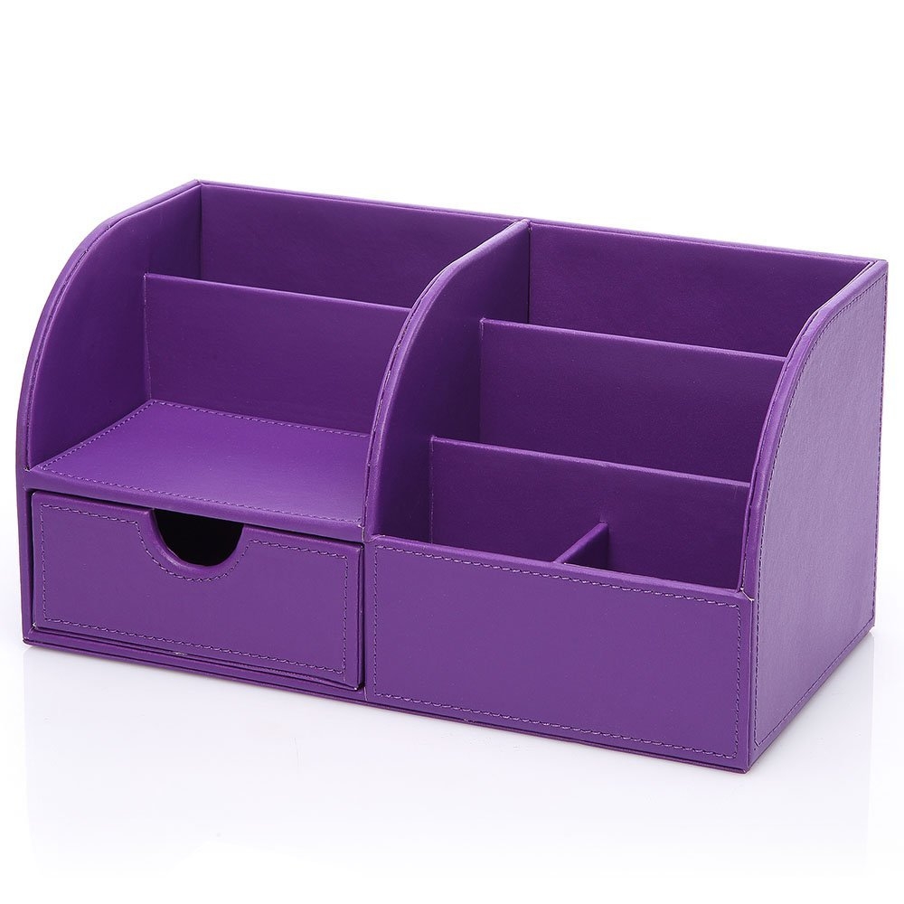 Superbe Aliexpress.com : Buy Purple 7 Storage Compartments Multifunctional PU  Leather Office Desktop Organizer, Stationery Storage Box Collection Pen  Holder From ...