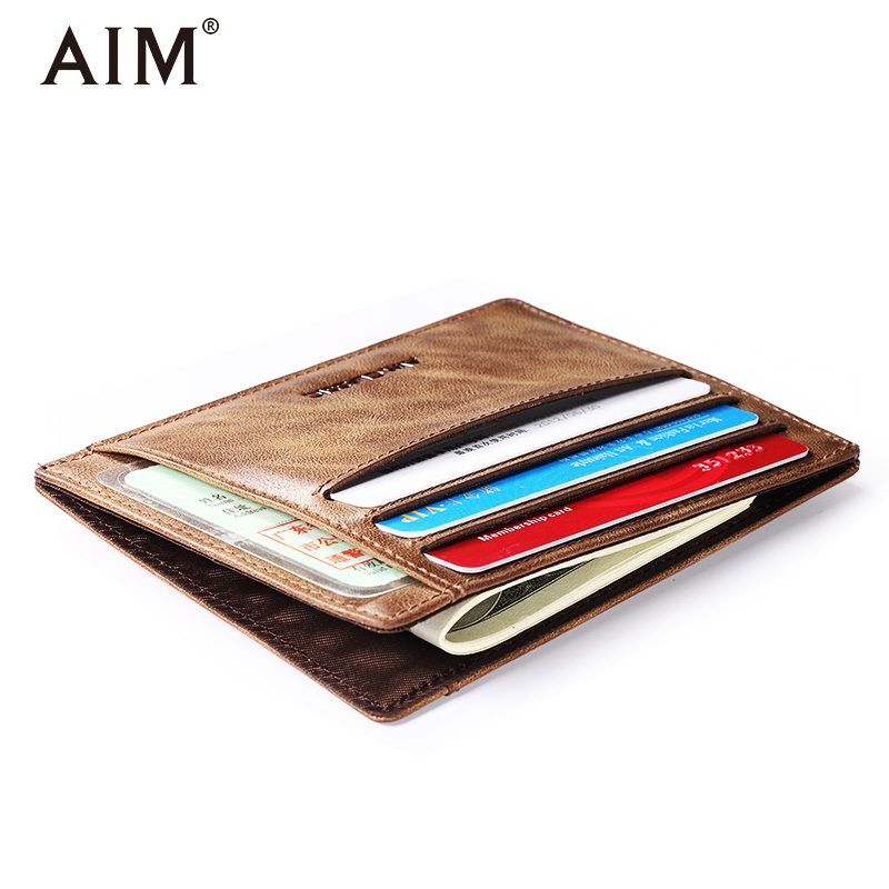 AIM Genuine Leather Thin Card Case Men Slim Wallet Mini Coin Pocket New Arrival Men's Pocket Card Holder Purse For Gift A295 2pcs pomegranate