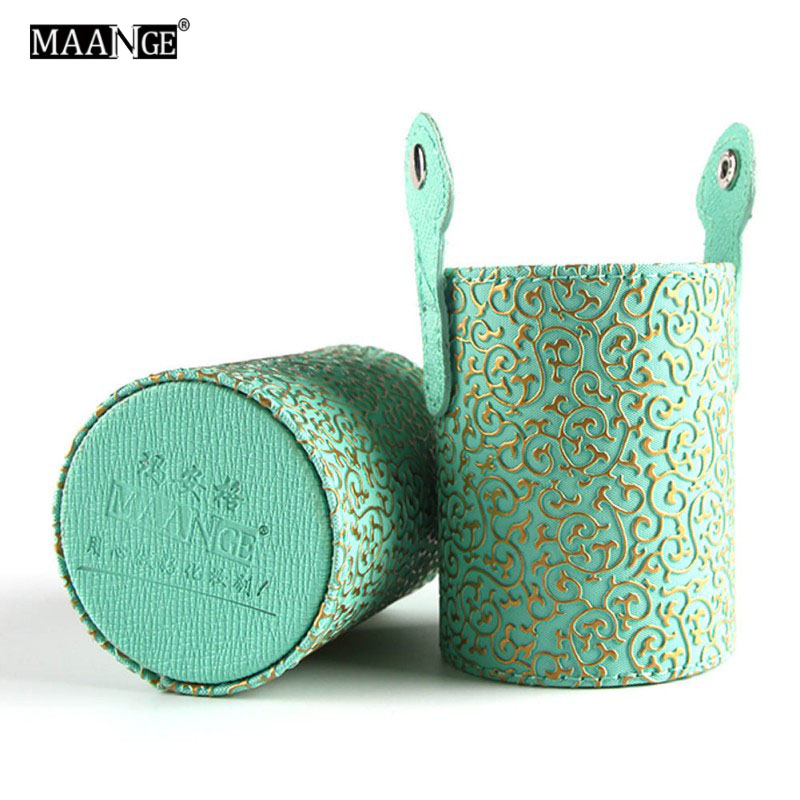 MAANGE Women Makeup Brush Round Pen Holder Cosmetic Tool PU Leather Cup Container Solid Colors 11 Color maange round silicone makeup sponge