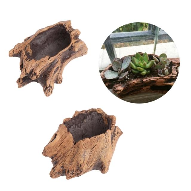 Imitating Wood Flower Cement Planters for Succulents Flowerpots Bonsai Decor
