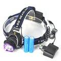 Faro 18650 Unidades XM-L T6 LED 2000Lm cabezal de la antorcha linterna de la lámpara principal Lanterna + Ac Charger + 2 x 18650 batería 4000 mAh