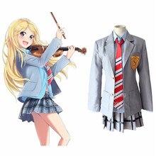 Anime japonés de La Mentira en Abril Miyazono Kaori Cosplay Traje de Uniforme Escolar de Las Niñas Ropa (Chaqueta + Tie + Shirt + falda)