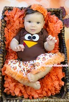 Thanksgiving Brown Bodysuit Girls Turkey Face Baby Dress Outfit Set NB-18Month