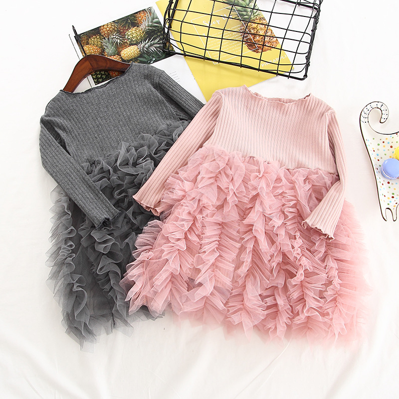 Pretty Kids Baby Girls Floral Long Sleeve Princess Party Pageant Tutu Lace Dress