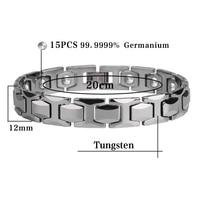 Hottime 15 PCS 99 99 Germanium Tungsten Bracelet Never Fade IP Gold Plated Health Bio Energy