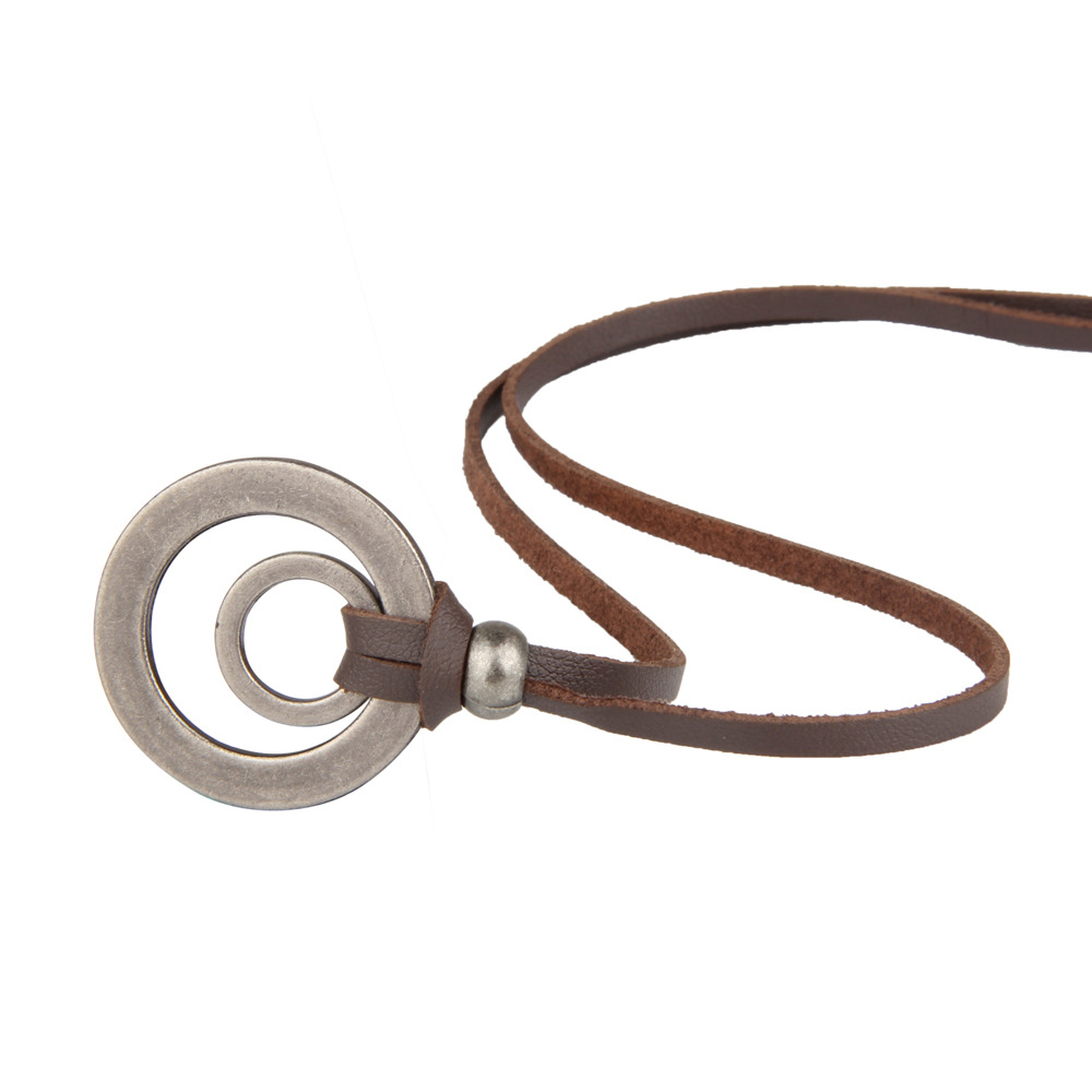 NIUYITID Men Leather Necklace & Pendants Retro Long Black Brown Rope Chain Adjustable Circle Alloy Jewelry Women Neckless (1)