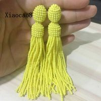 Yellow Gray Purple Colorful Long Beaded Tassel Earrings Women Dangle Drop Seed Beads Earring Vintage Jewelry