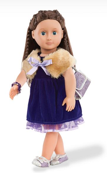 1 fur shrug 1 dress 1 purse 1 pair of shoes American Girl Doll Clothes Children