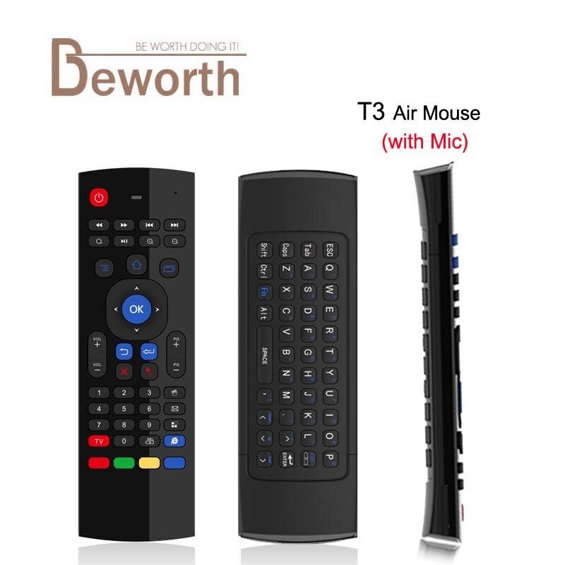 T3 MIC 2.4g Fly Air ratón con micrófono t3-m Mini teclado ir aprendizaje inalámbrico Control remoto vs MX3 6- ejes giroscopio GamePad