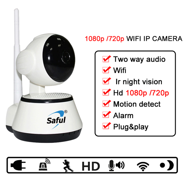 US $28 0 20% OFF|Saful Wireless IP camera wifi Camera IOS/Android app  support home security Night Vision CCTV Baby Monitor Surveillance Camera-in