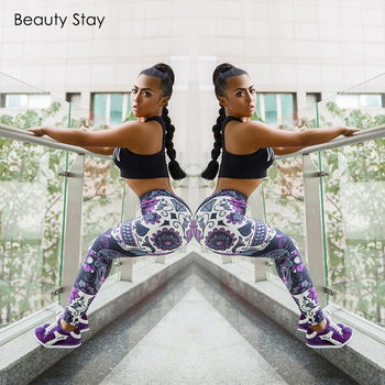 Beauty Stay Women Leggings Bone Rose Printed  Fitness Stretch  High Waist Sexy Casual  Stretchy Exercise Pants Trousers
