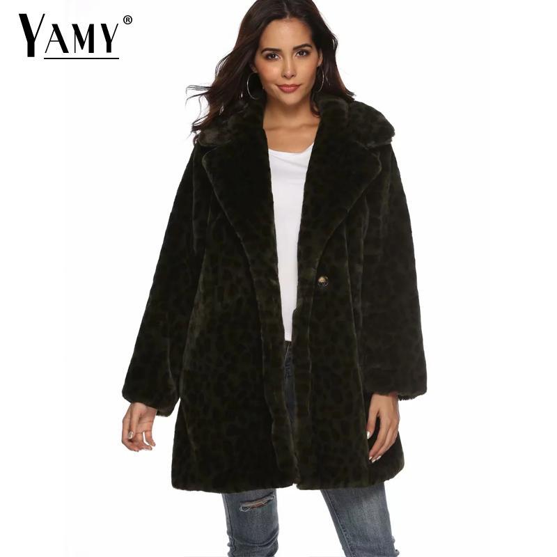 Winter thick warm Green fur coat women long coat Fashion Leopard print fur jacket long sleeve