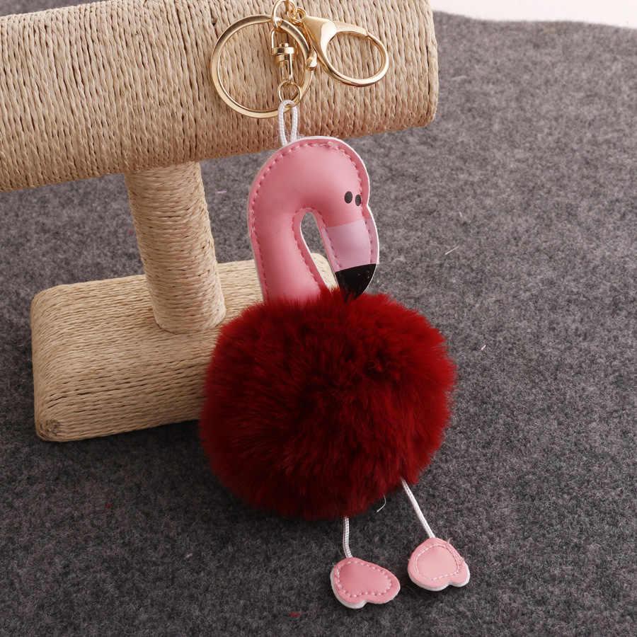 Llaveros Bonito Chaveiro pompom Chaveiro Flamingo Chaveiro Fofo Falso Bola de Pêlo de Coelho Mulheres Saco pompom Acessórios Anel Chave Do Carro