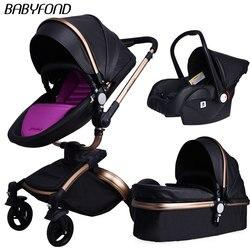 25 usd Cupom! Babyfond Baby Carriage 360 Graus Rotativa carrinho de bebê marca 2 em 1 3 em couro 1 do Pram do bebê carrinho de Alumínio