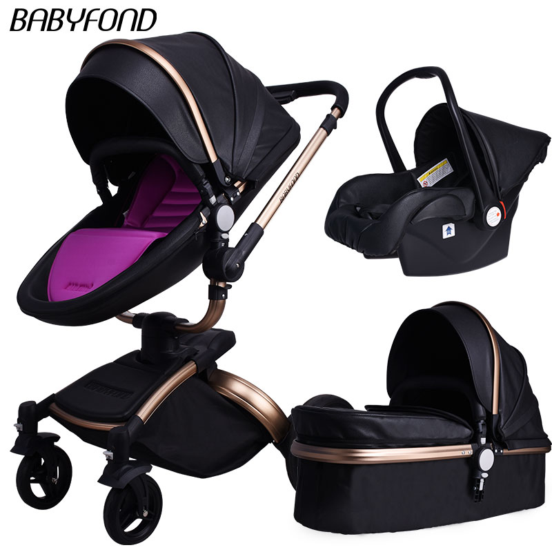 Free Shipping Babyfond Baby Carriage 360 Degree Rotating Baby Stroller Brand 2 In 1 Baby Pram 3 In 1 Leather Carriage Aluminium