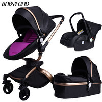 babyfond Baby Carriage 360 Degree Rotating baby stroller brand baby car doux bebe 2 in 1 baby stroller 3 in 1 leather carriage