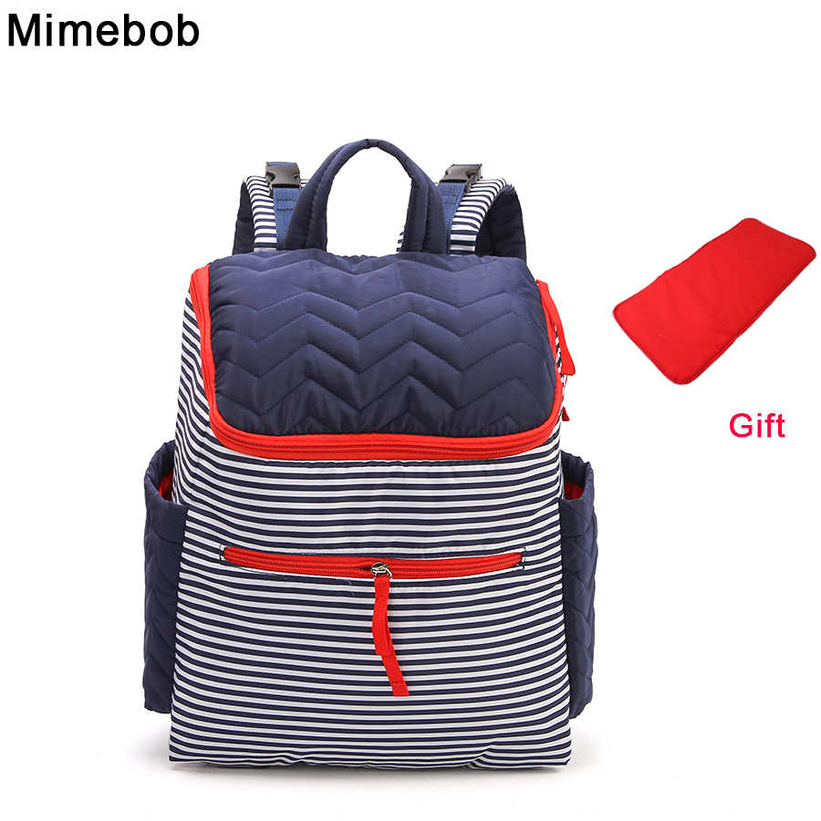 stripe Women Backpack Large High capacity baby Diaper Bag with Pad Mummy  Travel Bag mommy Baby e324c2fce2