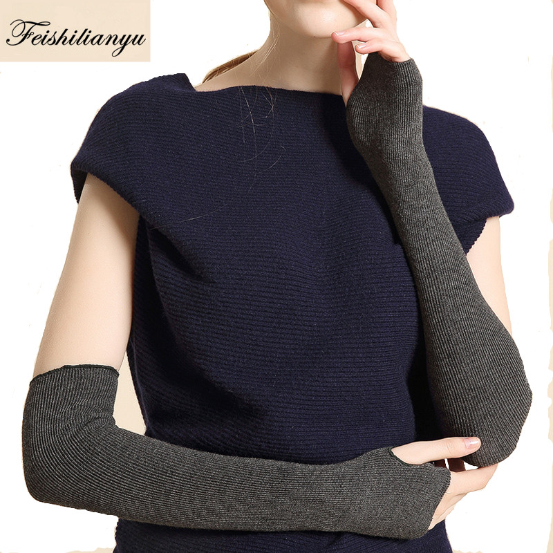 New Arrival Fashion High Quality Hand Knitted Half Fingers Mitten Warmer Long Gloves Female Fashion Arm Warmers Mitten S501-18
