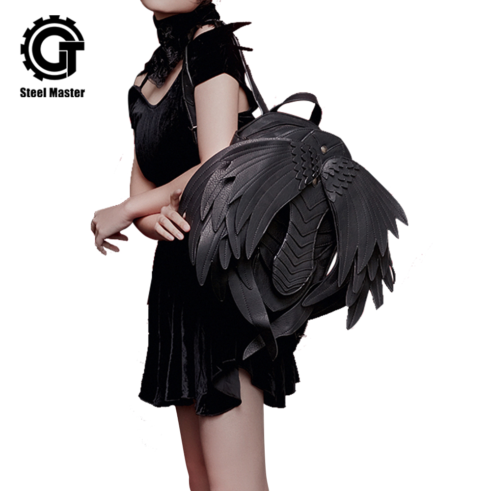 New Punk Wings Leather Women Backpack Gothic Men Black Ghost Monster Vampire Retro Backpack Steampunk Fashion Travel Casual Bag in Backpacks from Luggage Bags