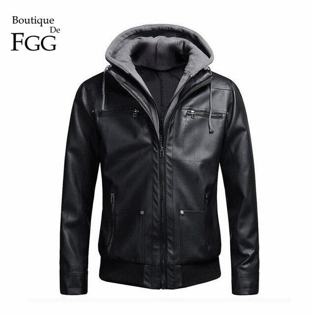 Размер 4XL Съемная Капюшоном Мужчины Искусственной Кожи Куртки Черный Байкер Пальто Мотоцикла Мужские Кожаные Куртки Пальто Тонкий Jaqueta Couro