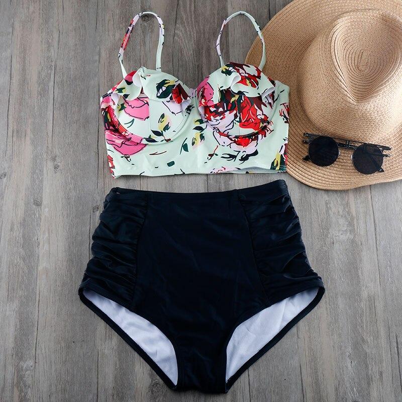 Bikinis Women 2017 Plus Size Swimwear S To 3XL High Waist Swimsuit Push Up Bra Bikini
