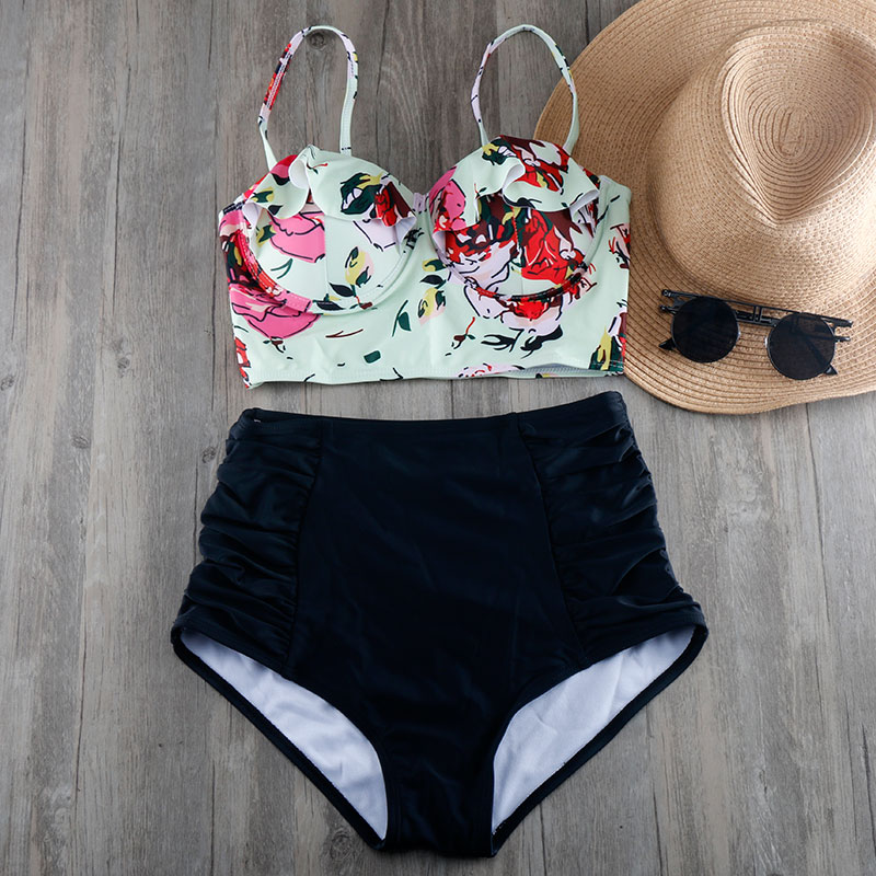 Bikinis Women 2018 Plus Size Swimwear S to 3XL High Waist Swimsuit Push Up Bra Bikini Set Beachwear Biquini Retro Bathing Suit vintage bikinis retro plus size swimwear women high waist swimsuit print beachwear skirt bathing suits monokini tankini biquini