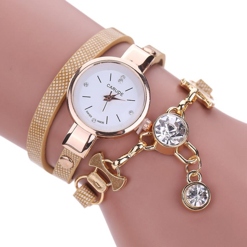 Essential Wristwatch Bangle Bracelet Watches Women Fashion Ladies Faux Leather Rhinestone Analog Quartz Dress  Gift Sep29 l 10 women s stylish petals style bracelet quartz analog wristwatch golden white 1 x lr626