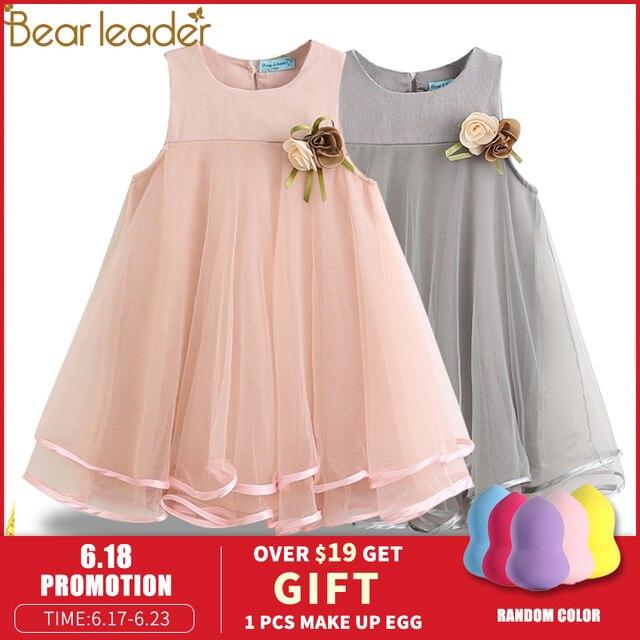 Oso Leader niñas vestido 2019 marca princesa vestido sin mangas apliques diseño Floral para Niñas Ropa vestido de fiesta 3-7Y ropa