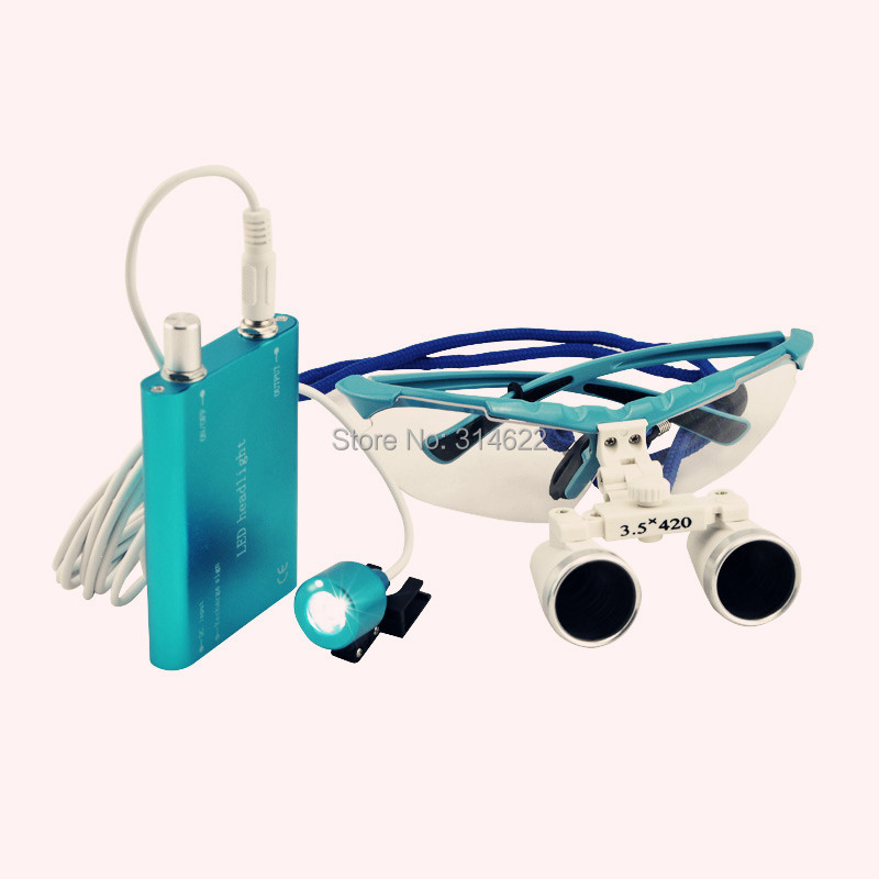 High Quality Blue magnifying glass 3.5X420 Medical Surgical loupes Dental Loupes medical loupes head loupes with LED light 2 5multiple high quality 3 w led surgical medical dental loupes with spotlight head light lamp headlight ac dc with loupes